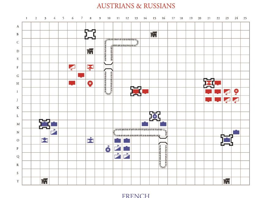 1805 battle of Austerlitz scenario for Guy Debord's The Game of War.