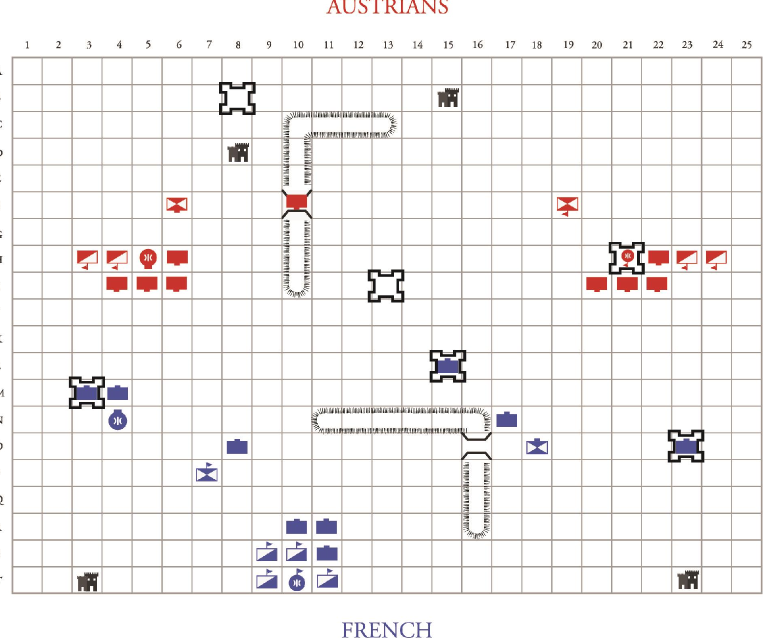 1800 Marengo campaign scenario for Guy Debord's The Game of War.